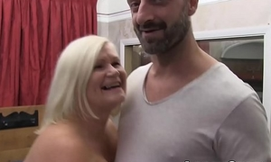 LACEYSTARR - Drop out of sight brass neck granny gets interracial spitroast