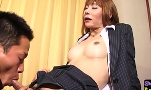 Fishnet ladyboy sucking dick onwards sex