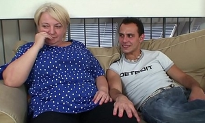 Busty 70 life-span old blonde grandma pleases young stud