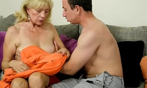 Foreplay caring grandma rides younger cock