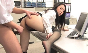 Asian nipper shagged by two coworkers there the brush meeting