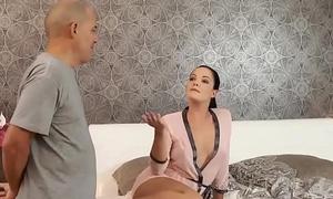 DADDY4K. Dad and young girl sex culminates at hand nice facial cumshot