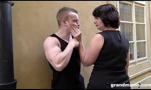 Fat grown up wife pays youthful boy 50 Euros for a blowjob