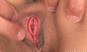 Pitch-dark japanese student widens her covetous holes at first casting