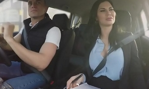 Milf examiner fucks in driving school automobile