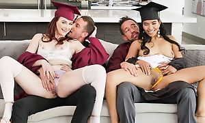 Four kinky college girls with huge sexual appetite swapping their dads