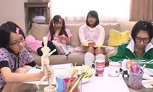 Japanese teen girls sucking and bonking enduring pecker in turn
