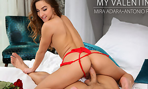Decked outside in lingerie Amira Adara gives her man a Valentines treat wiht her puffy broken up and cock hungry nude pussy